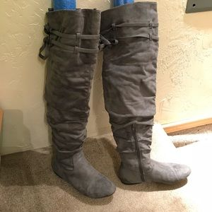 Thigh high gray suede boots 8.5
